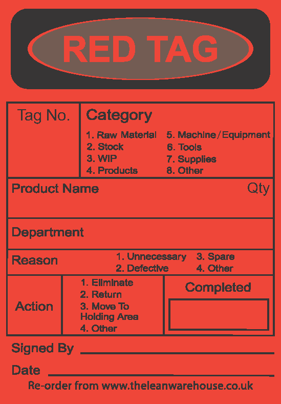 Self Adhesive Red 5s Tags