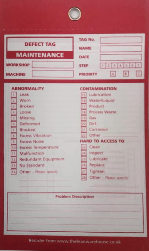 TPM Autonomous Maintenance  Defect Tag - Red - Maintenance